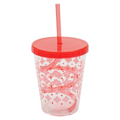 Swirly Straw Cup-Big Girl, Weight: 110g, Finish: clear+3 color silk screen+tinted straw+tinted lid