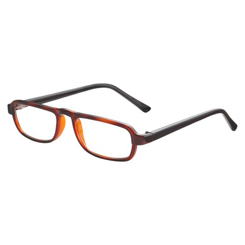 ICU Plastic Tortoise Rectangle With Black Temple Reading Glasses With Case