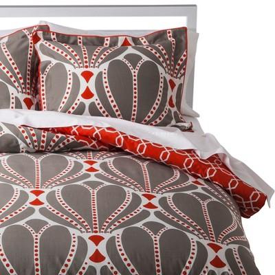 Deco Scalloped Comforter Set - Orange/Grey (Full/Queen)