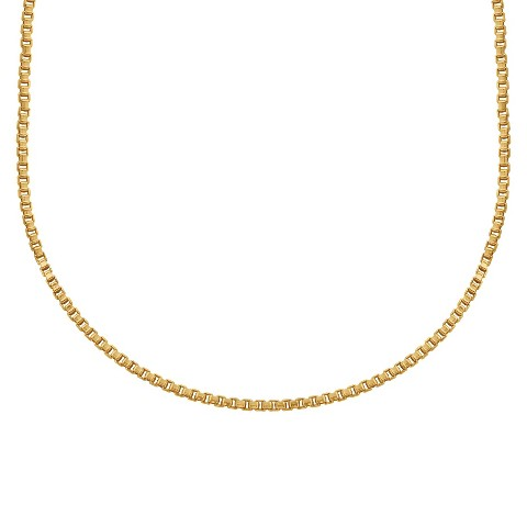 "Treasure Lockets™ Box Chain Stainless Steel  Necklace - Gold (18"")"