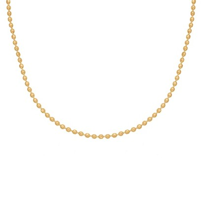"Treasure Lockets™ Diamond-cut Bead Chain Stainless Steel Necklace - Gold (18"")"