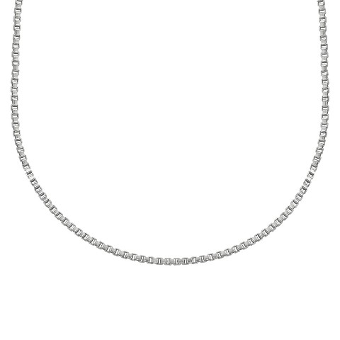 """Treasure Lockets™ Box Chain Stainless Steel Necklace - Silver (18"""")"""