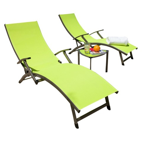 SOL 2-Piece Sling Patio Chaise Lounge and Table Furniture Set