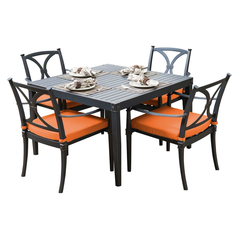 Patio dining set astoria 5 piece metal patio dining furniture set orange - Must have pieces for your patio furniture ...