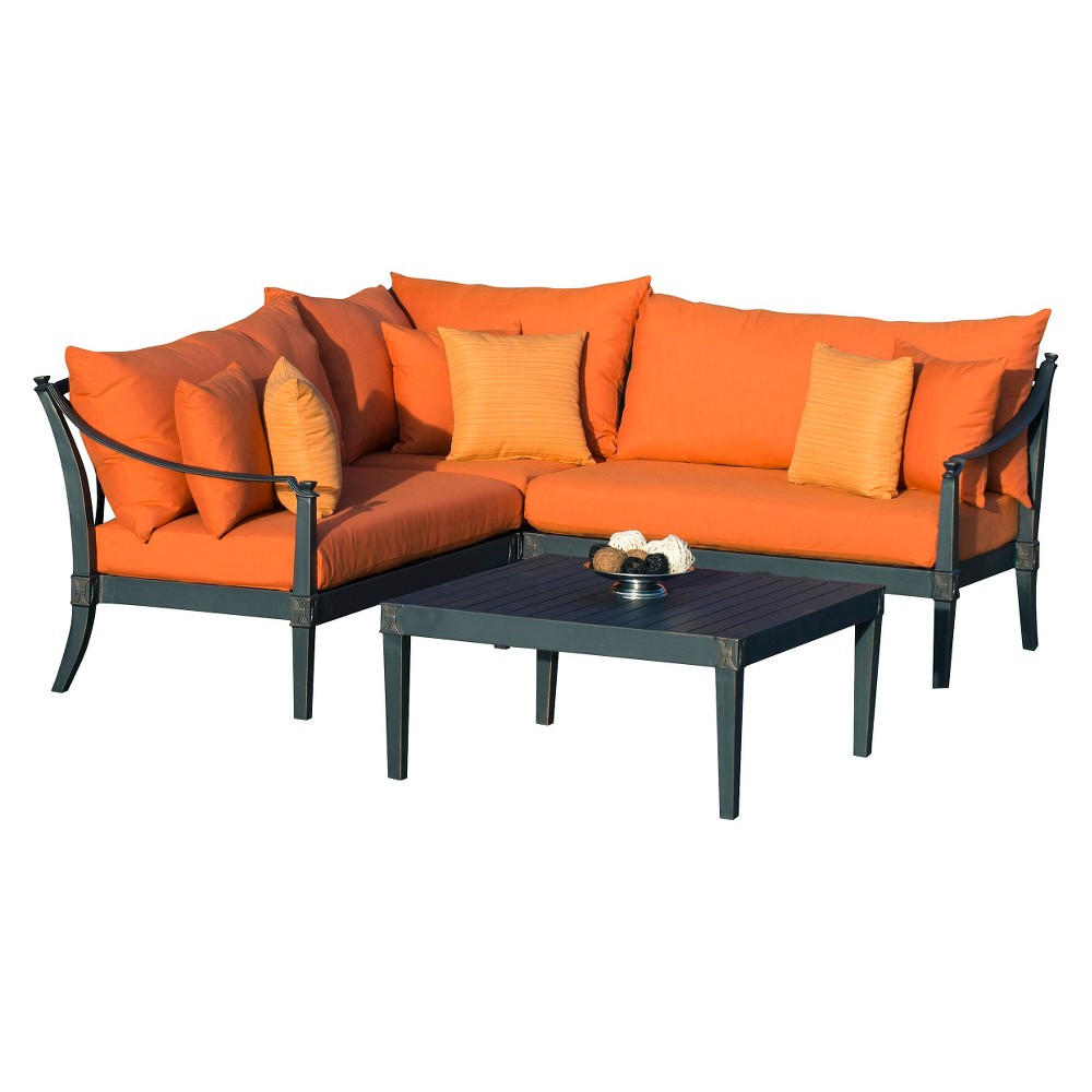 Patio Seating Set Astoria 4 Piece Metal Patio Sectional Seating Furniture Set Orange