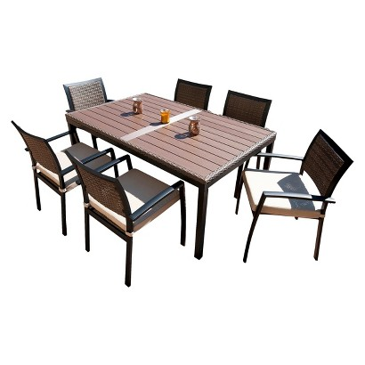 Zen 7 Piece Wicker Patio Dining Furniture Set Tar