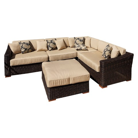 Resort 5-Piece Wicker Patio Sectional Seating w/Coffee Table Furniture Set