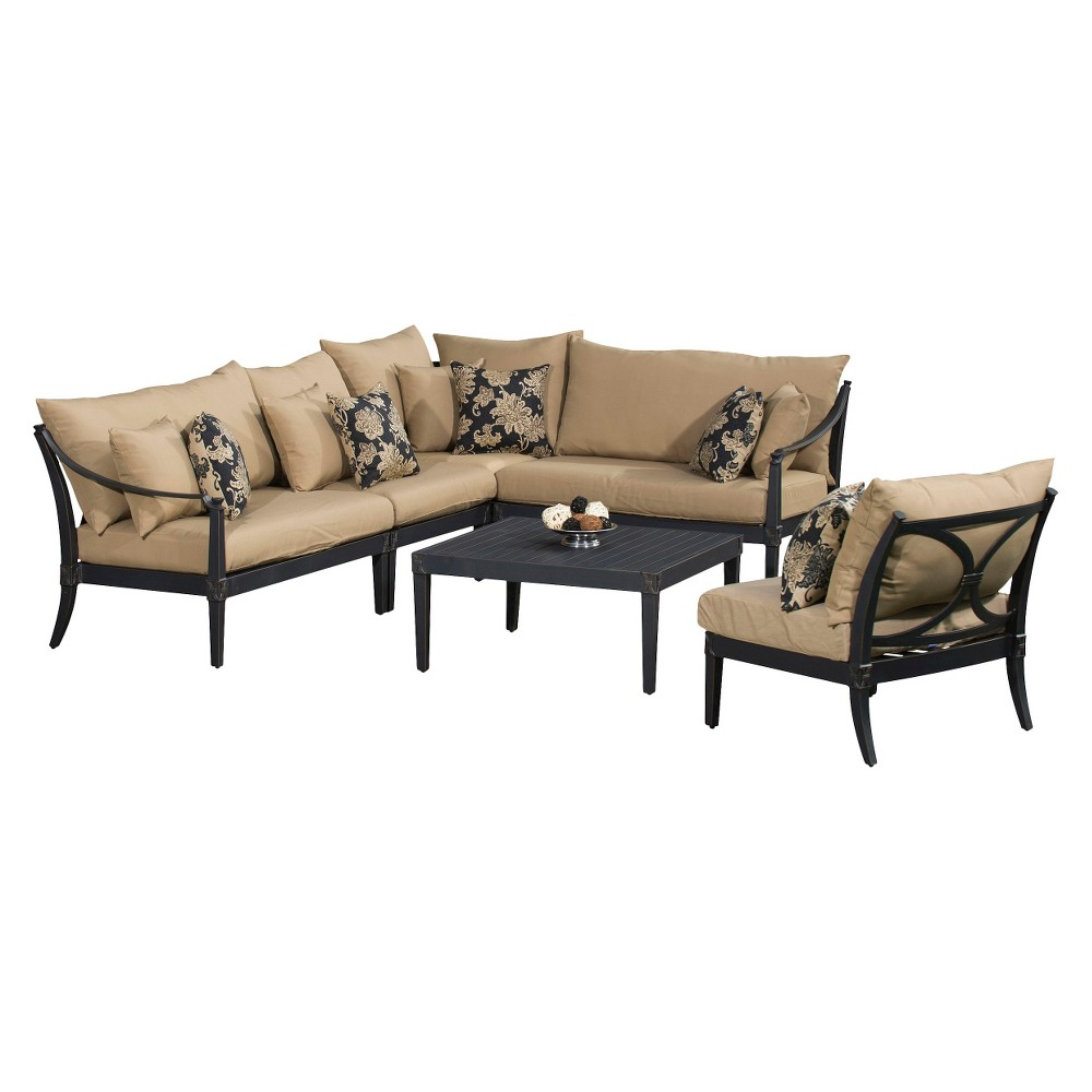 Patio seating set astoria 6 piece metal patio sectional seating furniture set beige - Must have pieces for your patio furniture ...