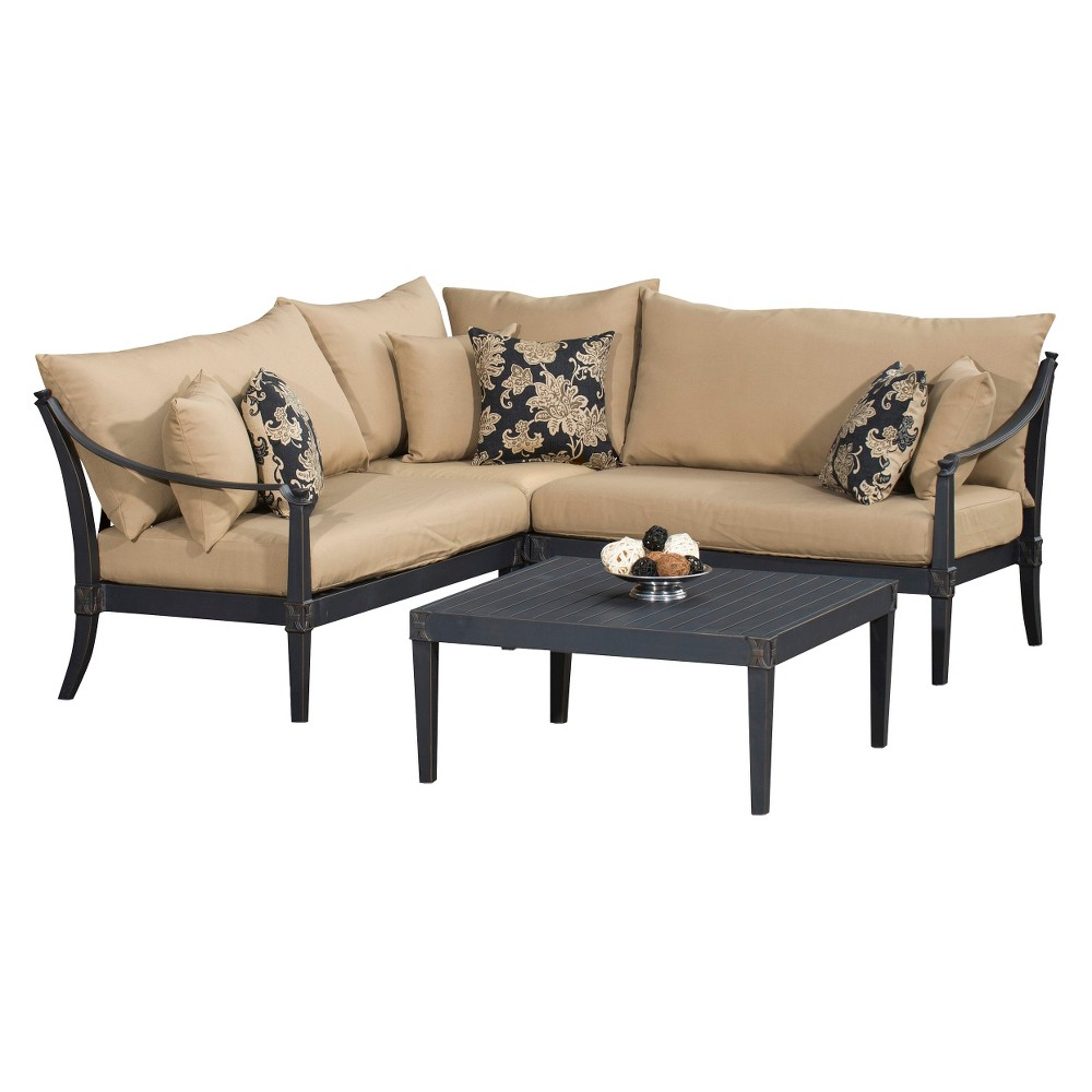 Patio seating set astoria 4 piece metal patio sectional seating furniture set beige - Must have pieces for your patio furniture ...
