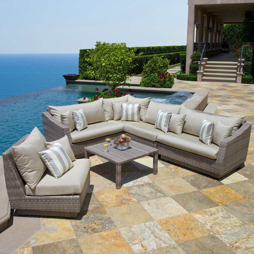 Patio seating set cannes 6 piece wicker patio sectional seating furniture set grey - Must have pieces for your patio furniture ...