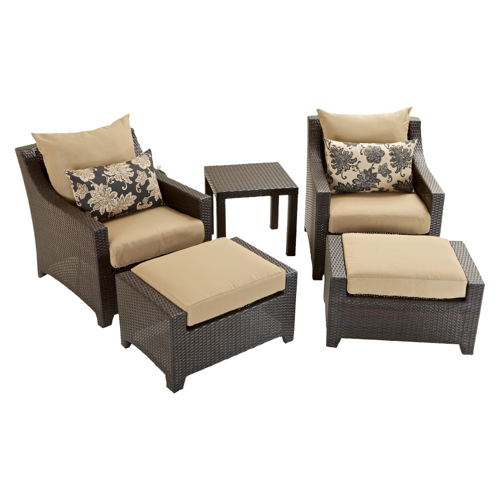 Patio seating set deco 5 piece wicker patio chat furniture set - Must have pieces for your patio furniture ...