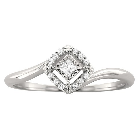 1/8 CT.T.W. Princess-cut Halo Promise Ring in 10K White Gold (H-I, I1-I2)