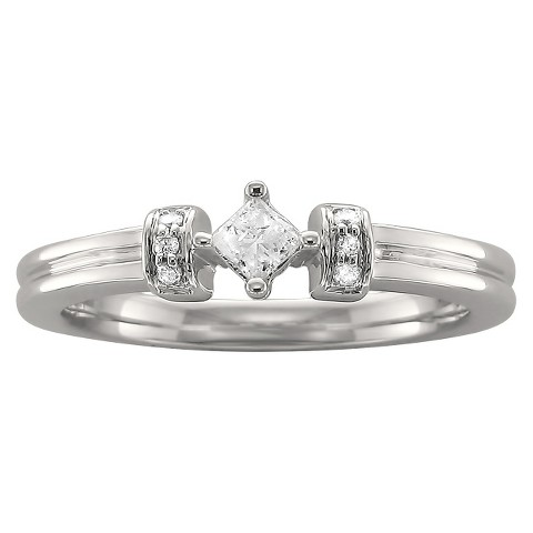 1/8 CT.T.W. Princess Diamond Ring with Round Accent Stones in 10K White Gold (H-I, I2)
