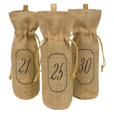 Burlap 21-30 Table Number Wine Bags - Brown
