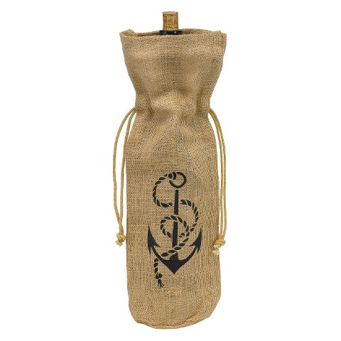 Burlap Rope & Anchor Wine Bag - Brown