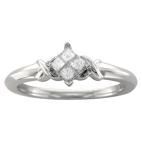 1/5 CT.T.W. Princess-cut Quad Diamond Promise Ring in 10K White Gold (H-I, I2)