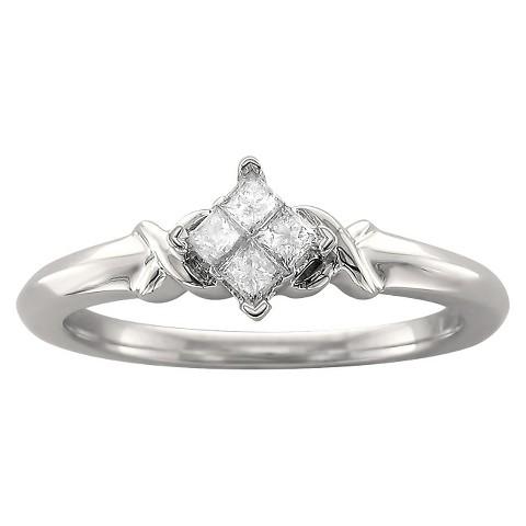 1/5 CT.T.W. Princess-cut Quad Diamond Promise Ring in 10K White Gold (H-I, I2)
