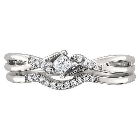 1/5 CT.T.W. Princess-cut Diamond Bridal Ring Set in 10K White Gold (G-H, I1)