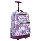 J World Sundance Rolling Backpack with Laptop Sleeve- Checkmate