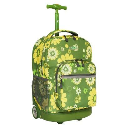 J World Sunrise Rolling Backpack - Khaki Flower