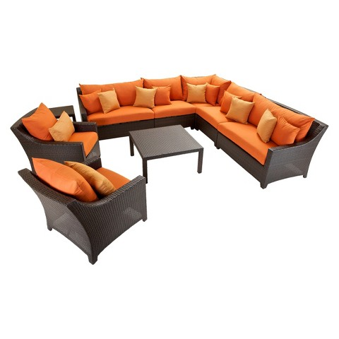 Deco 9-Piece Wicker Patio Sectional Seating Furniture Set