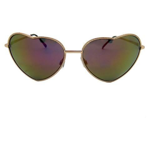 Women's Novelty Heart Sunglasses - Gold
