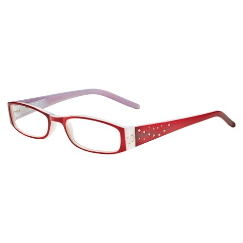 ICU Crystal Rectangle Rhinestone Reading Glasses With Sparkle Case
