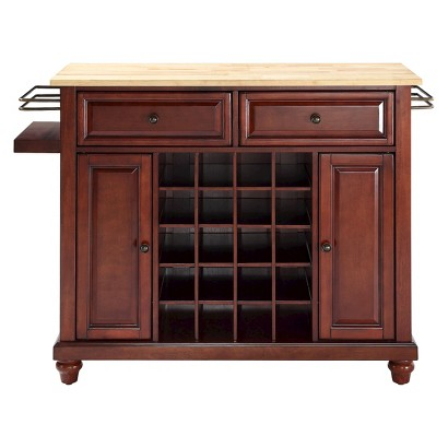 Crosley Cambridge Wine Island with Natural Wood Top