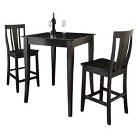 Crosley 3 Piece Cabriole Leg Pub Table Set - Black