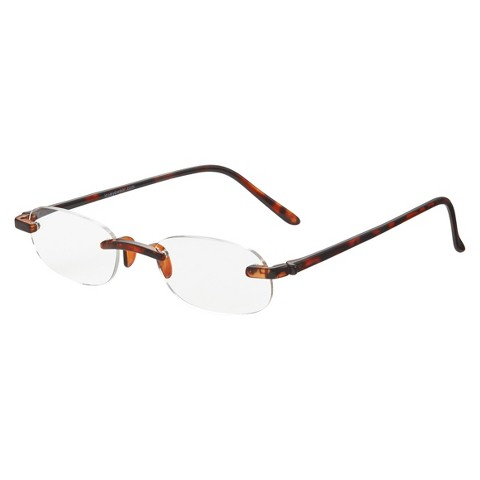 ICU Tortoise Rimless Reading Glasses With Case