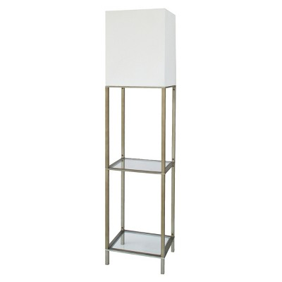 UPC 798919020997 Product Image For Threshold Floor Lamp With White Shade  And Glass Shelves   Silver