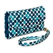 Dot Cell Phone Case Wallet with Removable Wristlet Strap - Blue
