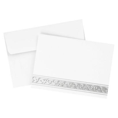 Silver Filigree Foil Note Cards - White
