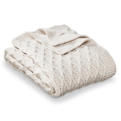 Thld Cream Chenille Waves Knit Throw
