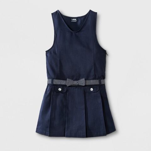 French Toast® Girls' School Uniform Pleated Jumper with Polka Dot Belt