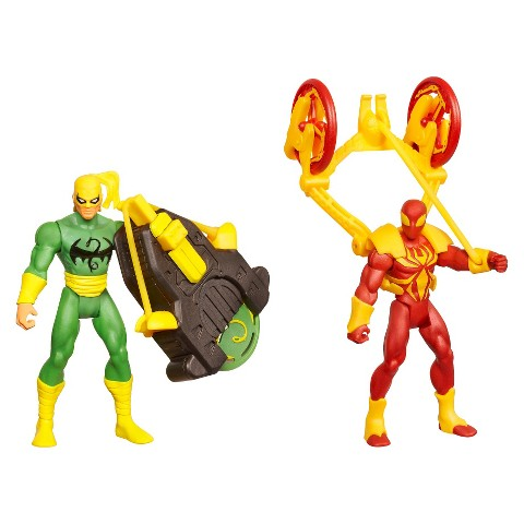 Marvel Ultimate Spider-Man Power Webs Figure 2-Pack (Dragon Disc Iron Fist and Catapult Smash Iron)