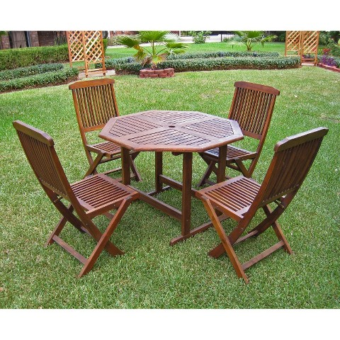 highland 5 piece wood patio dining furniture set gallery