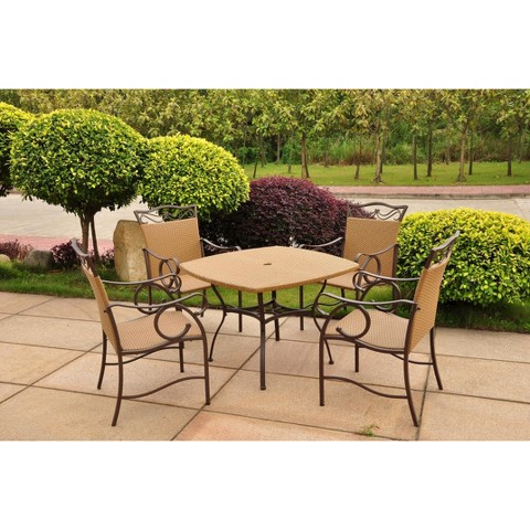 valencia 5 piece wicker patio dining furniture set product details