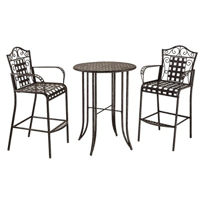 Mandalay 3-Piece Iron Bar Height Patio Bistro Furniture Set - Antique Black