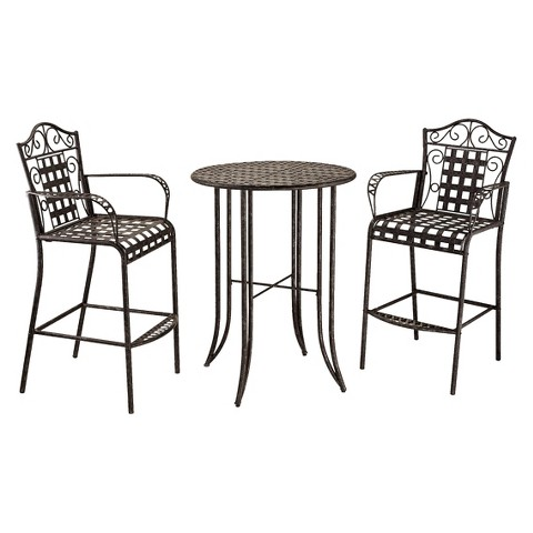 Mandalay 3-Piece Iron Bar Height Patio Bistro Furniture Set - Antique Black