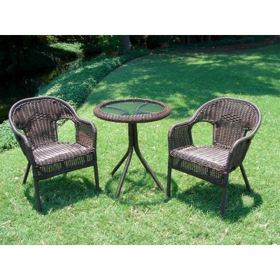Chelsea 3-Piece Wicker Patio Bistro Furniture Set - Brown