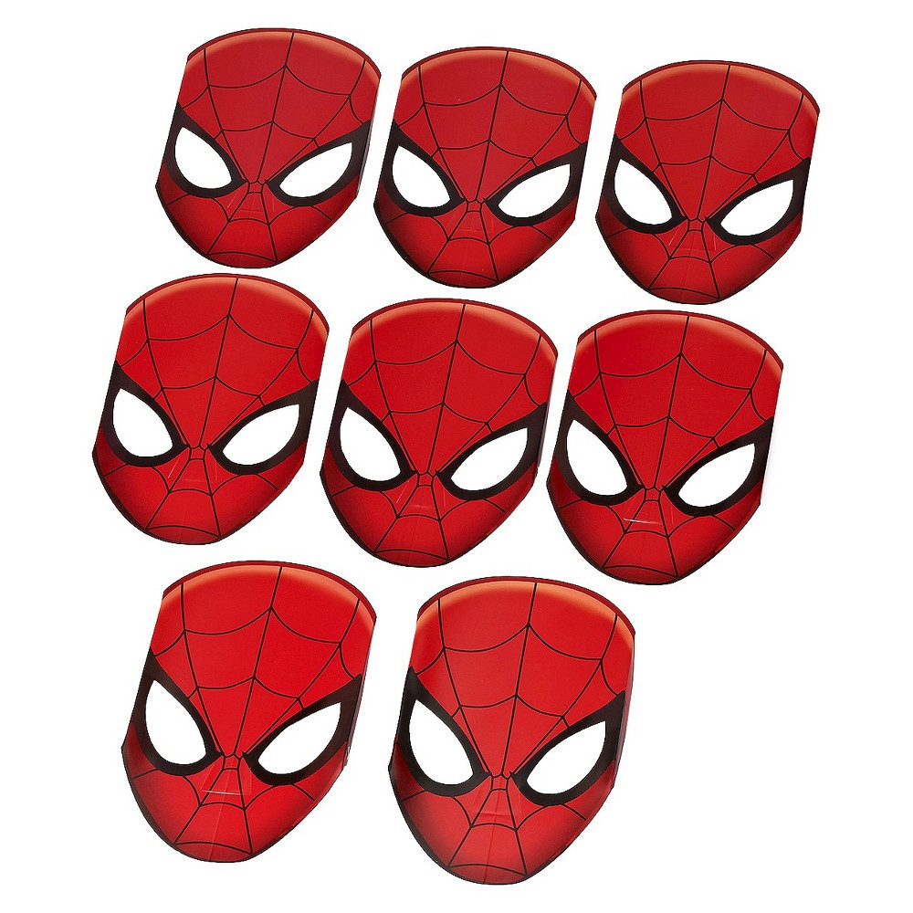 Spiderman Paper Mask 8 Count, Kids Unisex