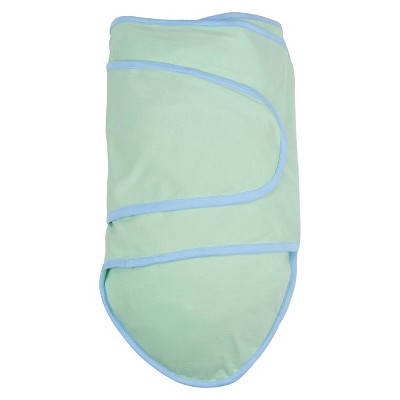 Miracle Blanket Solid Print with Trim Baby Swaddle - Light Mint/Blue