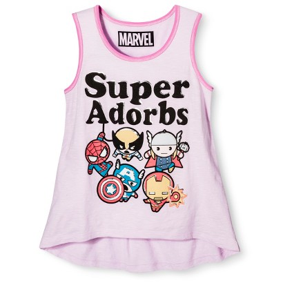 Girls' Super Adorbs Marvel Tank Top - Light Pink