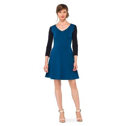 Women's Ponte Elbow Sleeve Fit & Flare Dress