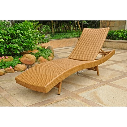 International Caravan Barcelona Wicker Patio Chaise Lounge - Antique Brown