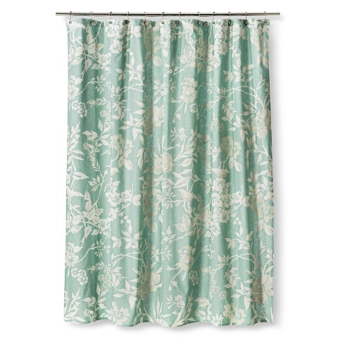threshold floral shower curtain teal product details page