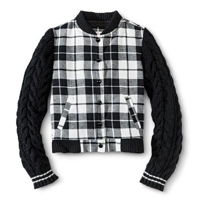 Girls' Checkered Bomber Zip-Up