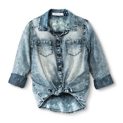 Xhilaration® Girls' Long-sleeve Button Down Shirt - Sky Blue