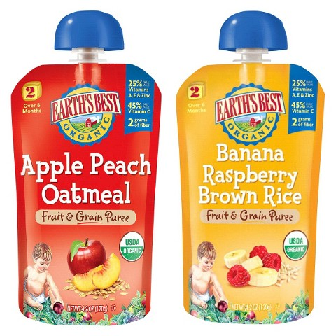 Earth's Best Stage 2 Fruit n Grain Pouch Variety Pack - 4.2oz (2x 6 Pack)